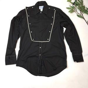 Mens Vintage Black Western Pearl Button Bib Shirt